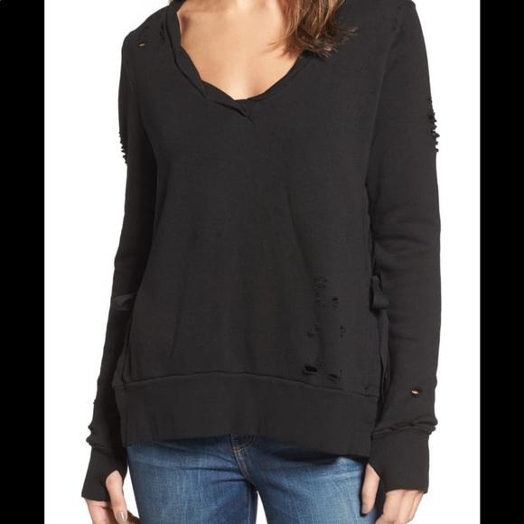 Pam & Gela Black Side Slit V Neck Sweatshirt NWT